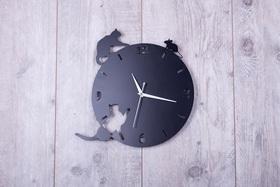 Metalowy zegar ścienny Kotki