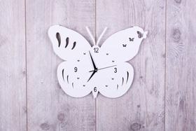 Metalowy zegar ścienny Motyl Biały