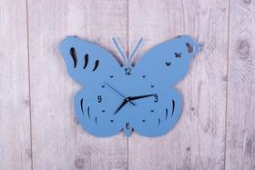 Metalowy zegar ścienny Motyl niebieski